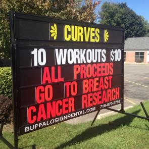 Curves 5 Line Sign