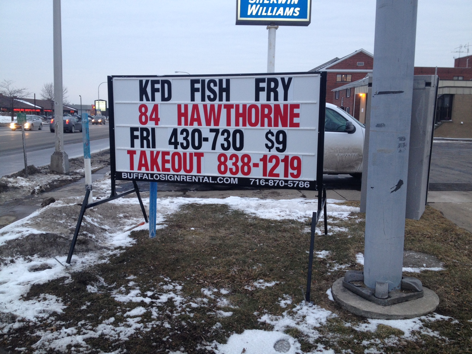 Photo signs of buffalo buffalo portable sign rental for Fish fry buffalo ny
